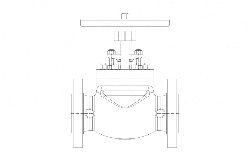 Globe Valves - E300 Technical Drawing - Vastas