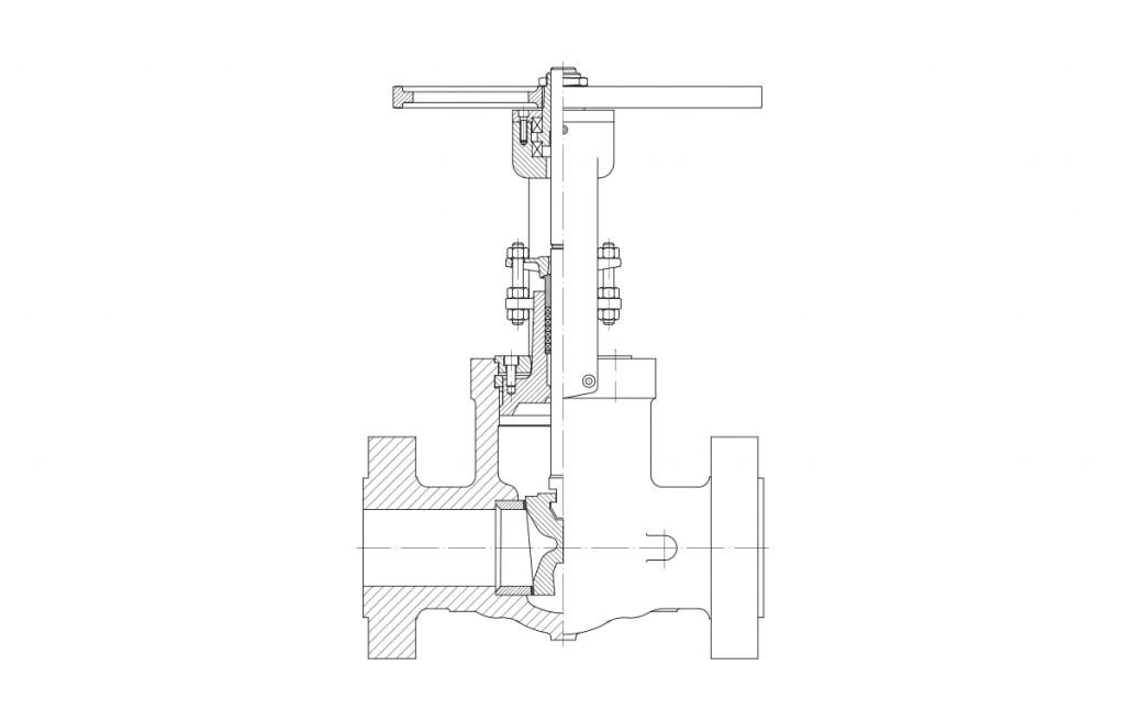 Gate Valves - E50F Technical Drawing - Vastas